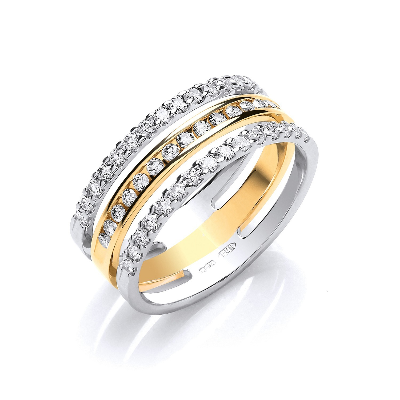 18ct 2 Colour 3 Band 0.50ct Diamond Ring