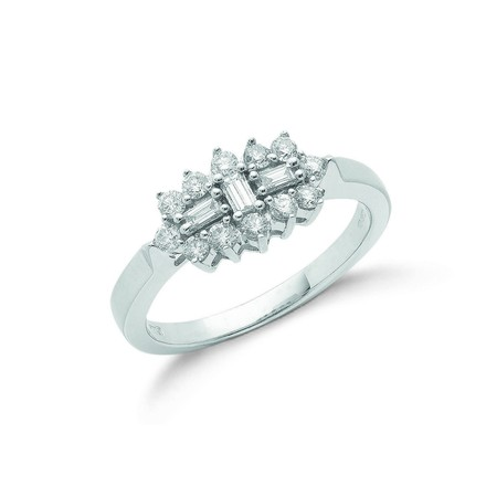 Selling: 18ct White Gold D.0.50ctw Diamond Boat/Cluster Ring
