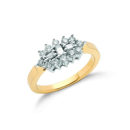 Selling: 18ct Yellow Gold 0.50ctw Diamond Boat/Cluster Ring