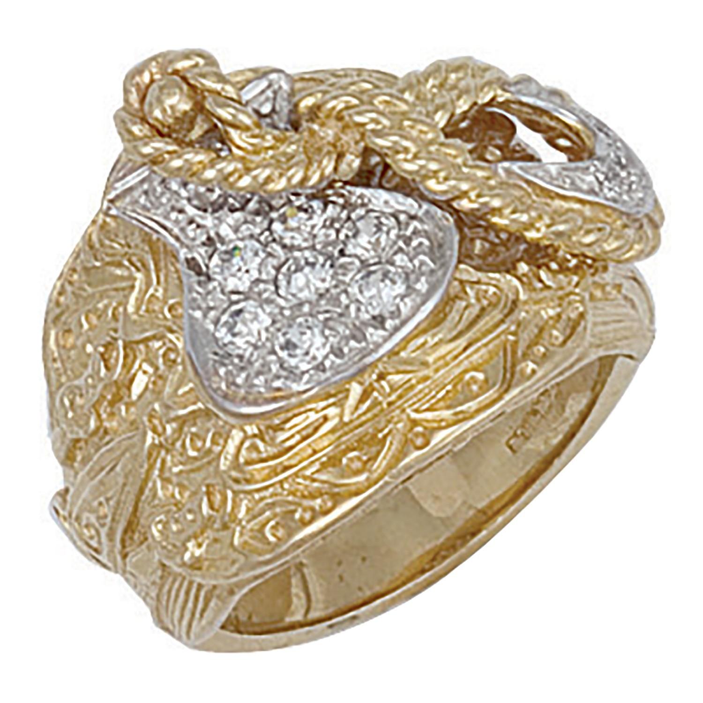 Y/G Cz Saddle Ring