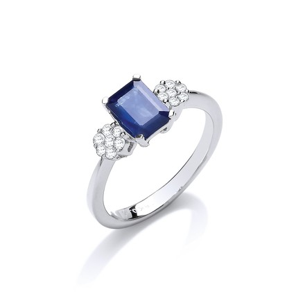 Selling: 18ct White Gold 0.15ct Diamond & 1.50ct Sapphire Ring
