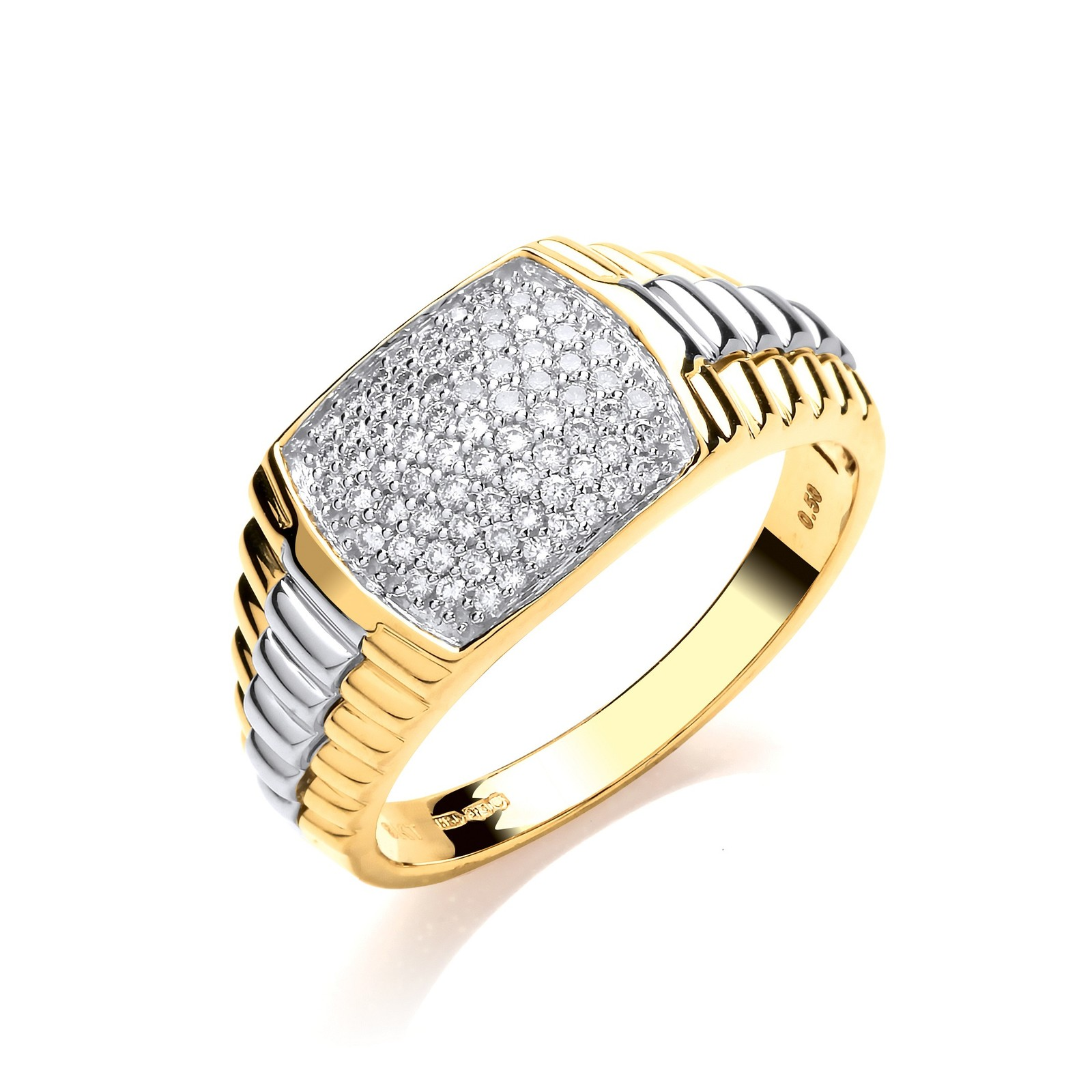 9ct Yellow Gold 0.50ct Fancy Link Gents Diamond Ring