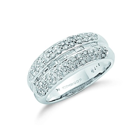 Selling: 9ct W/G 0.75ct Baguette Cut Centre Diamond Bombay Ring