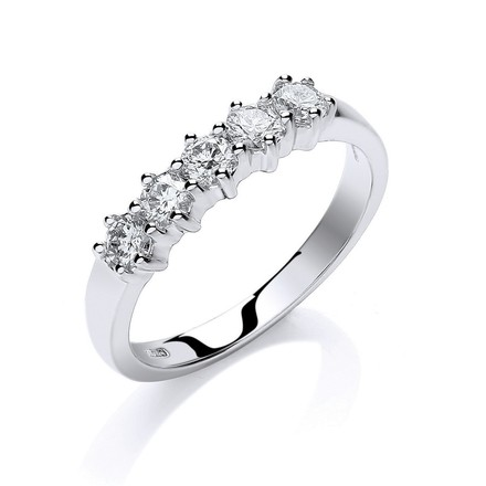 Selling: 18ct White Gold 0.50ct 5 Stone Diamond Eternity Ring