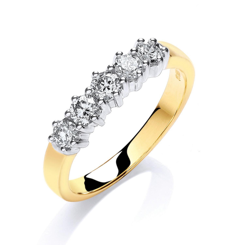 18ct Yellow Gold 0.50ctw 5 Stone Diamond Eternity Ring