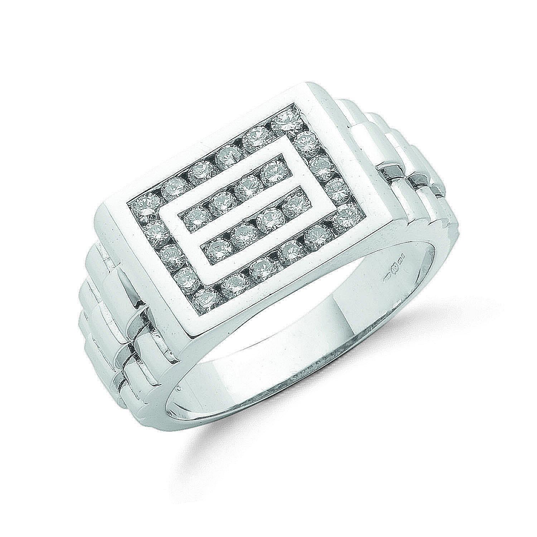 9ct W/G 0.66ct Gents Diamond Ring