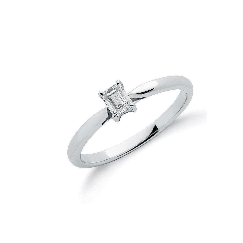 18ct White Gold 0.25ct Emerald Cut Diamond Engagement Ring