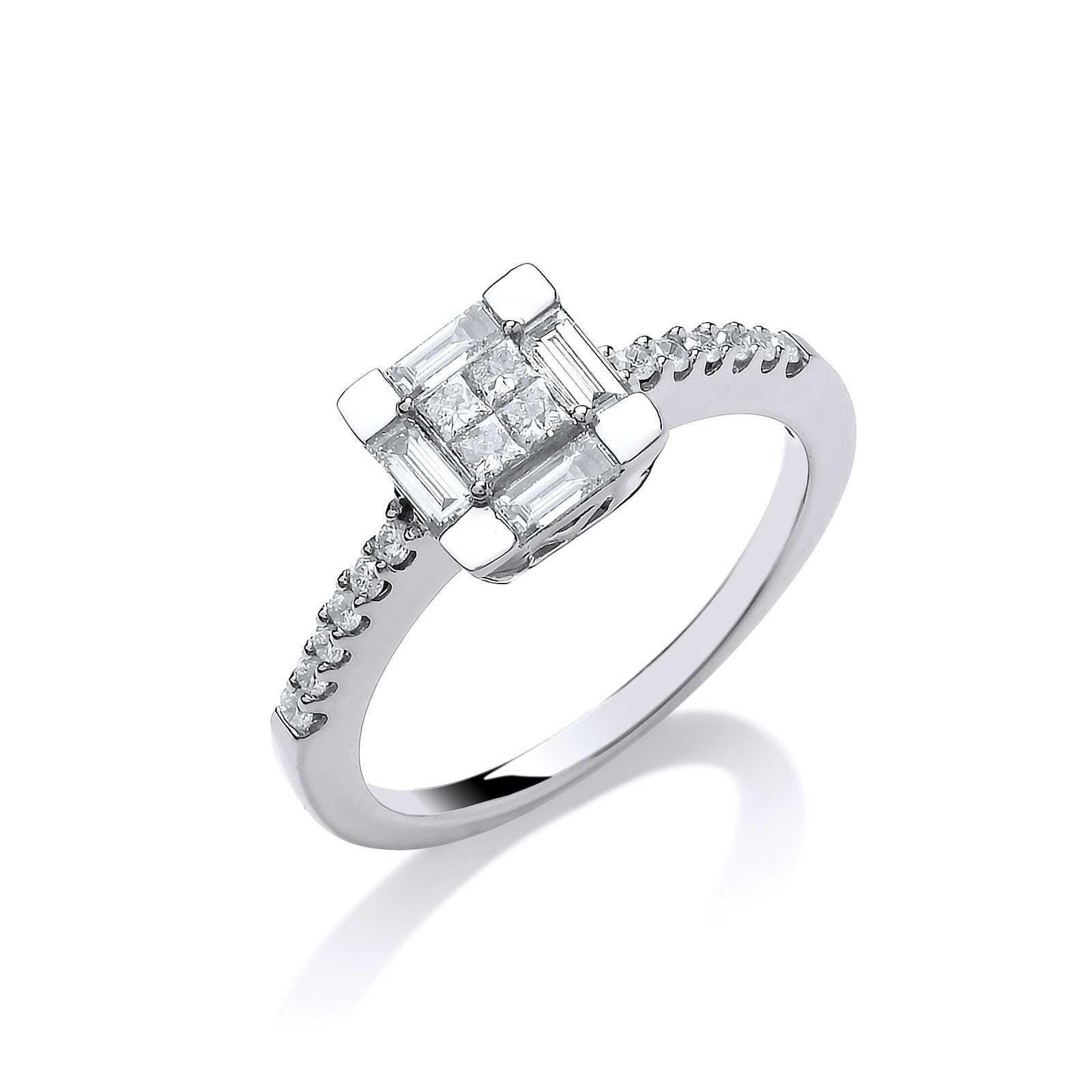 18ct White Gold 0.50ct Princess Cut Centre Diamond Ring