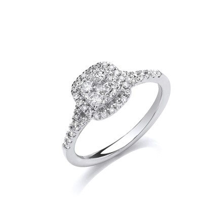 Selling: 18ct White Gold 0.55ct Split Shoulder Halo Ring