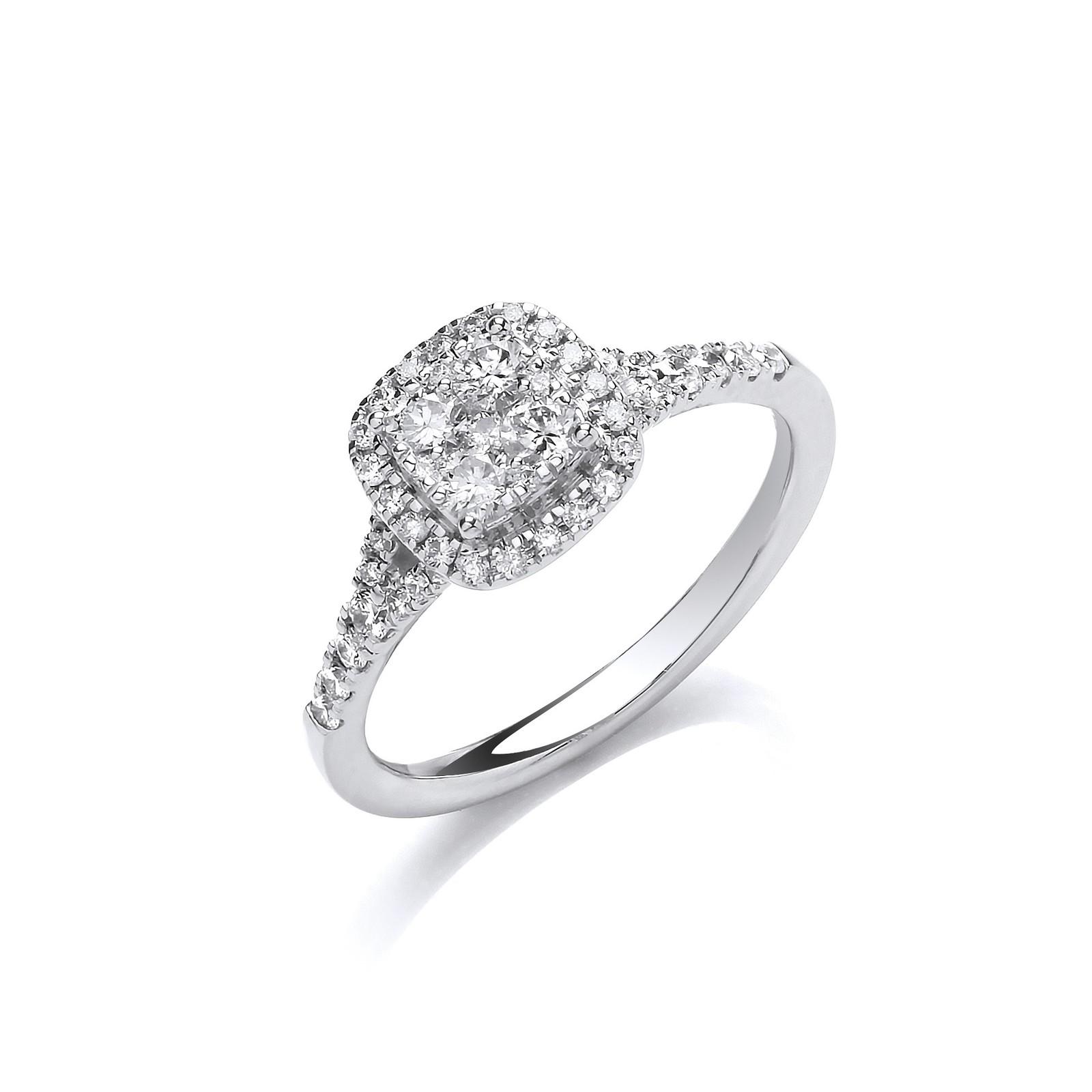 18ct White Gold 0.55ct Split Shoulder Halo Ring