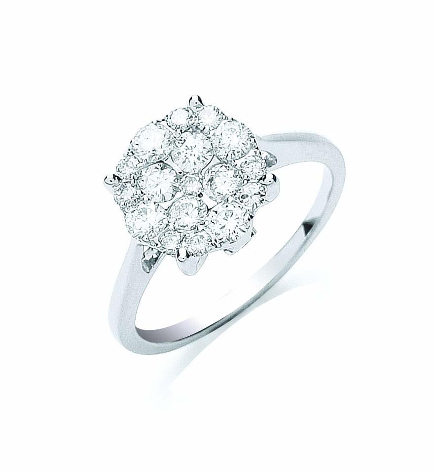 18ct White Gold 0.75ct Cluster Diamond Ring