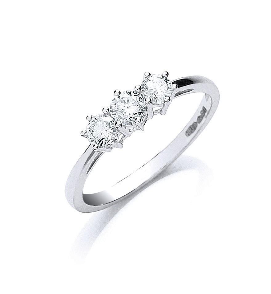 Platinum 0.50ct G/H-Vs Brilliant Cut Diamond Trilogy Ring