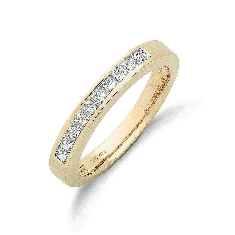 18ct Yellow Gold 0.50ctw Princess Cut Diamond Eternity Ring