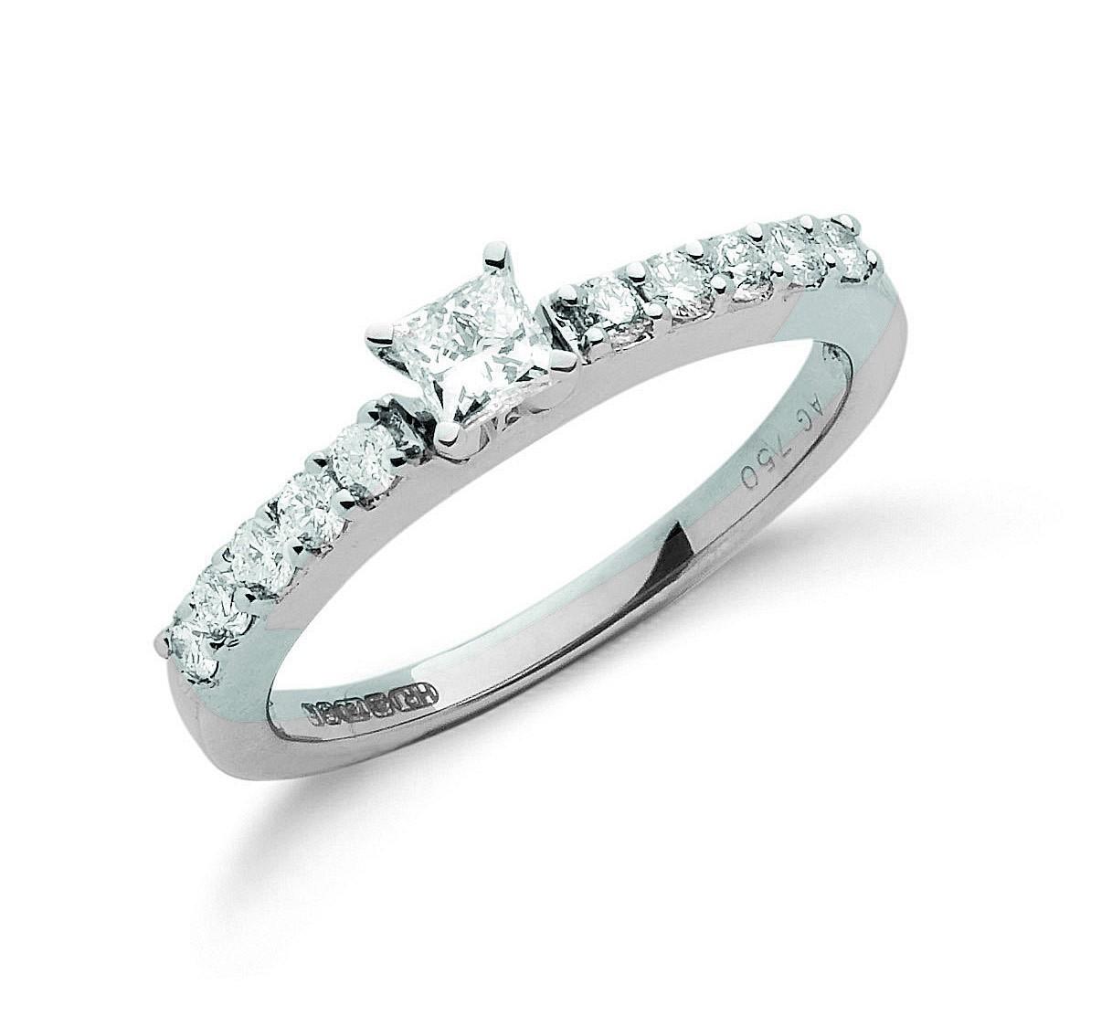 18ct White Gold 0.50ct Princess Cut Centre Diamond Ring