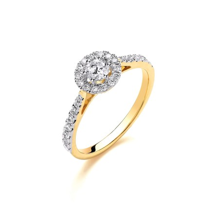 Selling: 18ct Yellow Gold Halo Style 0.50ct Diamond Ring