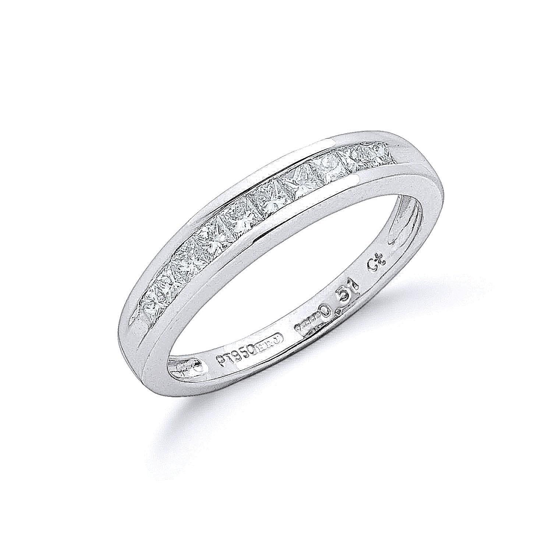 Platinum 0.50ct G/H-Vs Princess Cut Eternity Diamond Ring