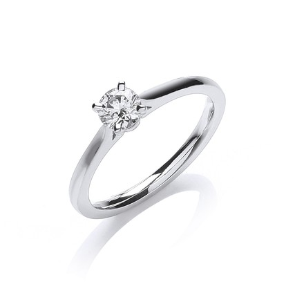 Selling: 18ct White Gold 0.30ct Certificated Solitaire Ring