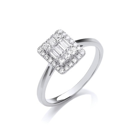 Selling: 18ct White Gold 0.50ctw Rectangular Halo Style Ring