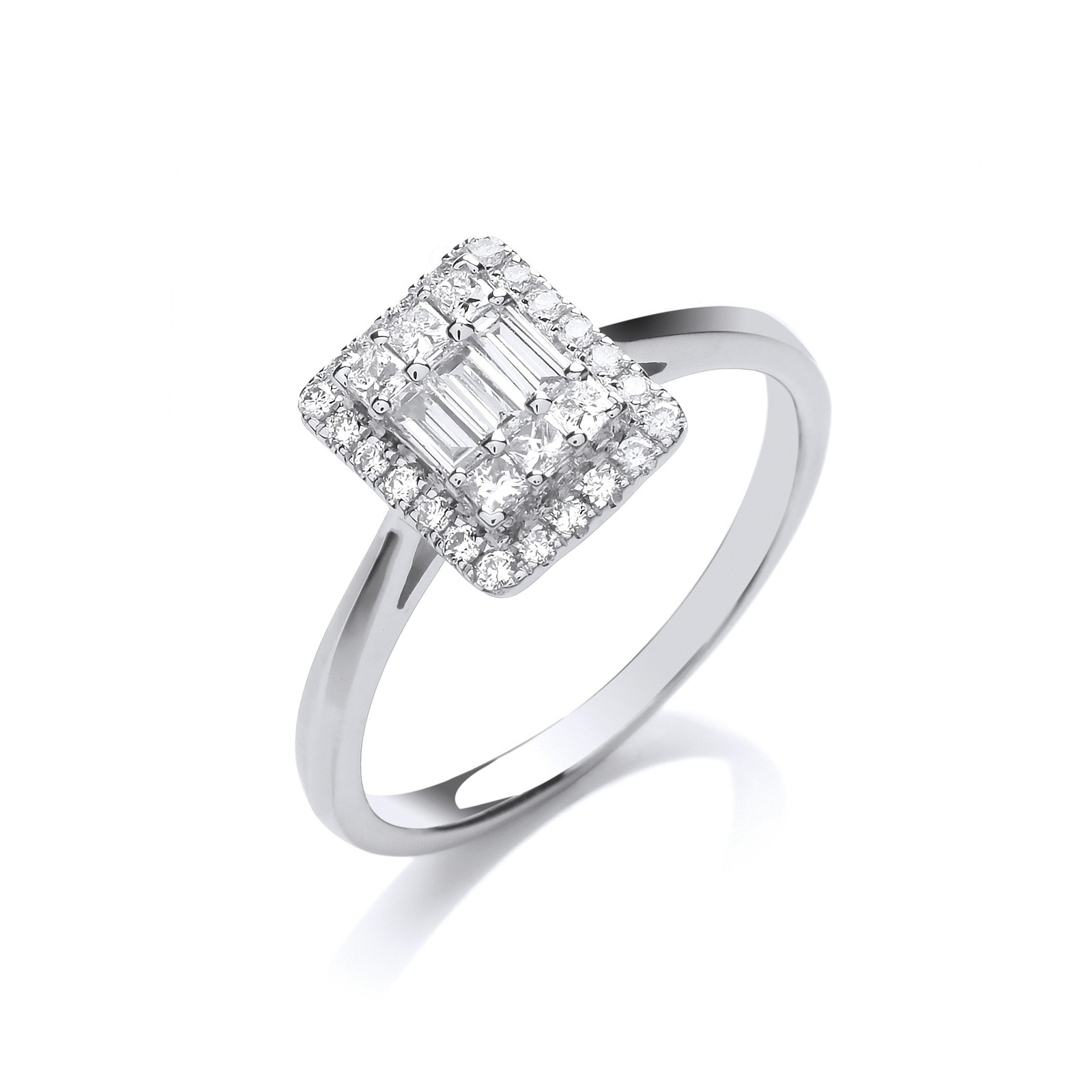 18ct White Gold 0.50ctw Rectangular Halo Style Ring