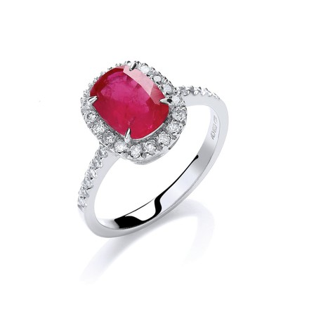 Selling: 18ct W/G 0.25ct Diamond, Cushion 1.9ct Ruby Ring
