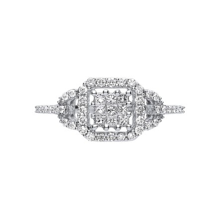 Selling: 18ct White Gold 0.50ct Square Halo Ring