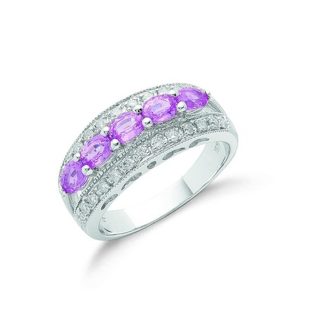 Selling: 18ct White Gold Diamond & Pink Sapphire Ring