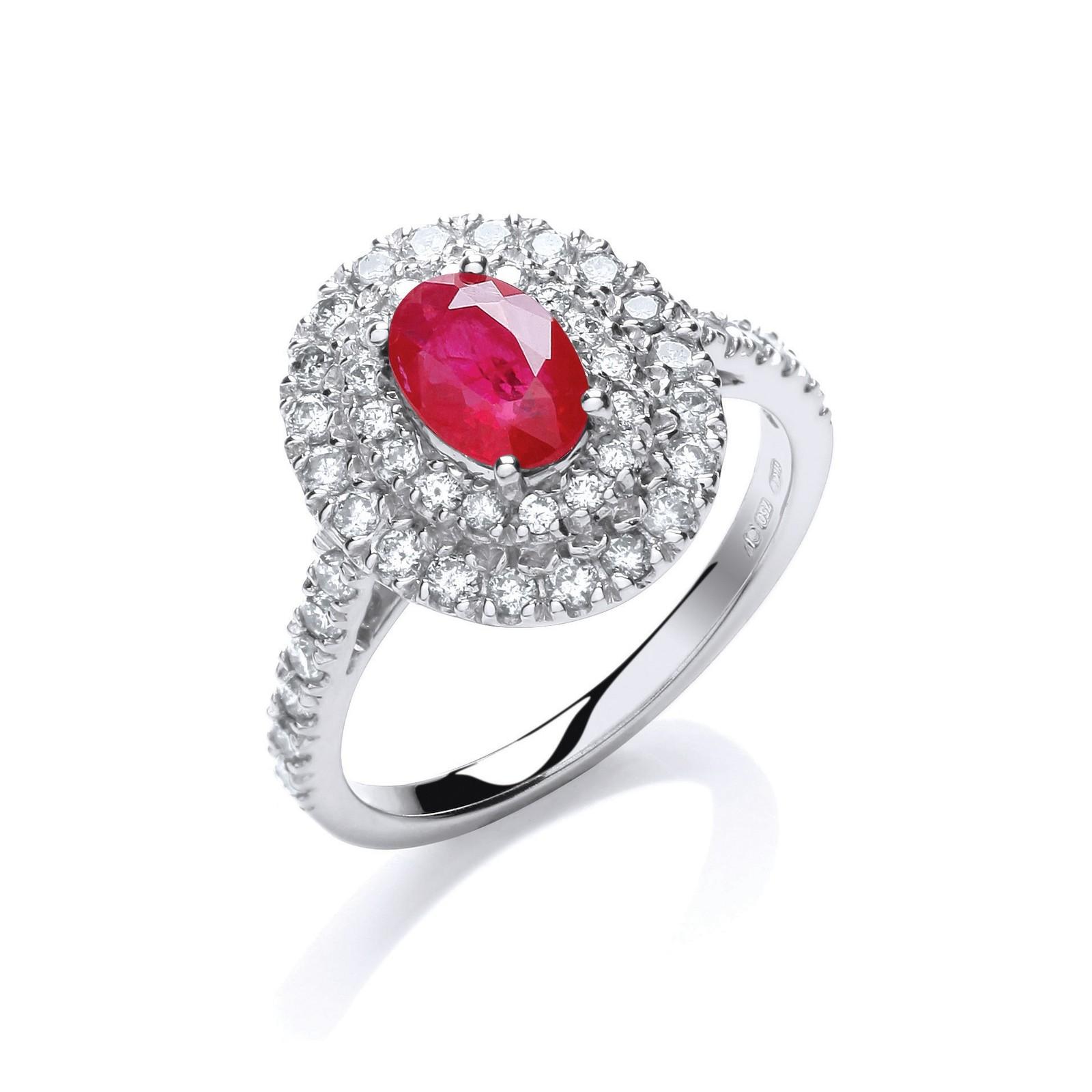 18ct W/G 0.60ct Diamond, 0.90ct 7x5mm Oval Ruby Ring