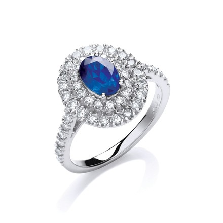 Selling: 18ct W/G Diamond 0.60ct, Oval 1.0ct Sapphire Ring