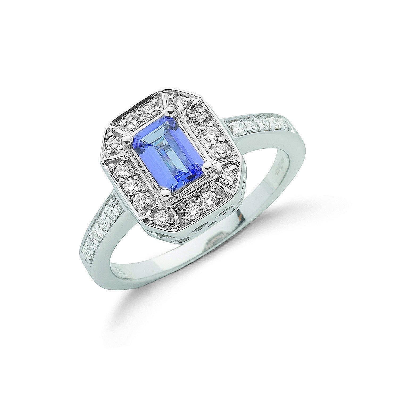18ct White Gold 0.35ct Diamond & 1.00ct Tanzanite Ring