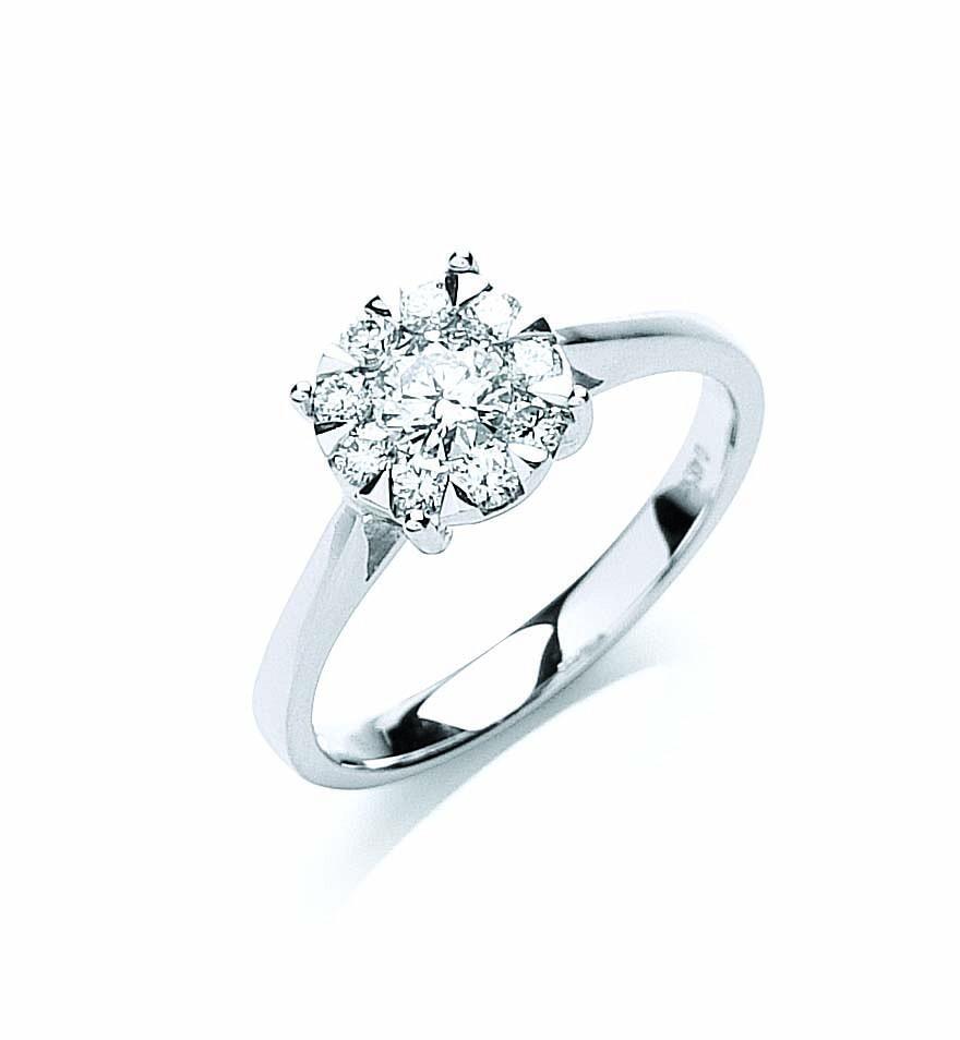 18ct White Gold 0.50ct Illusion Set Diamond Ring