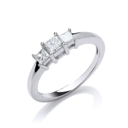 Selling: 18ct White Gold 0.50ct Princess Cut Diamond Trilogy Ring