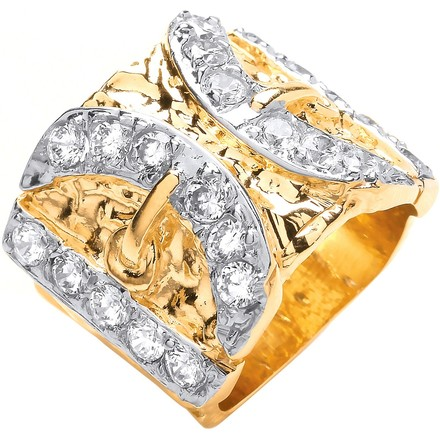 Selling: Y/G CZs Buckle Gents Ring