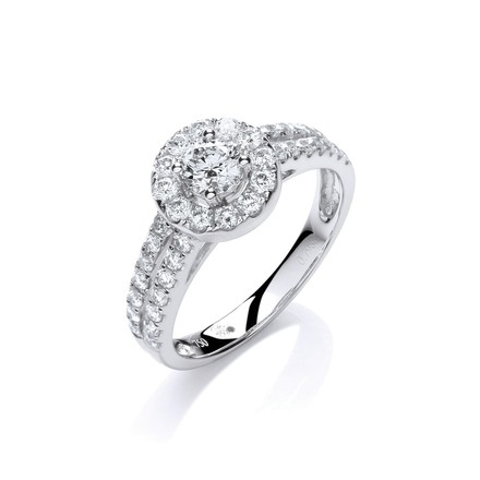Selling: 18ct White Gold 0.75ct H-SI Diamond Fancy Ring