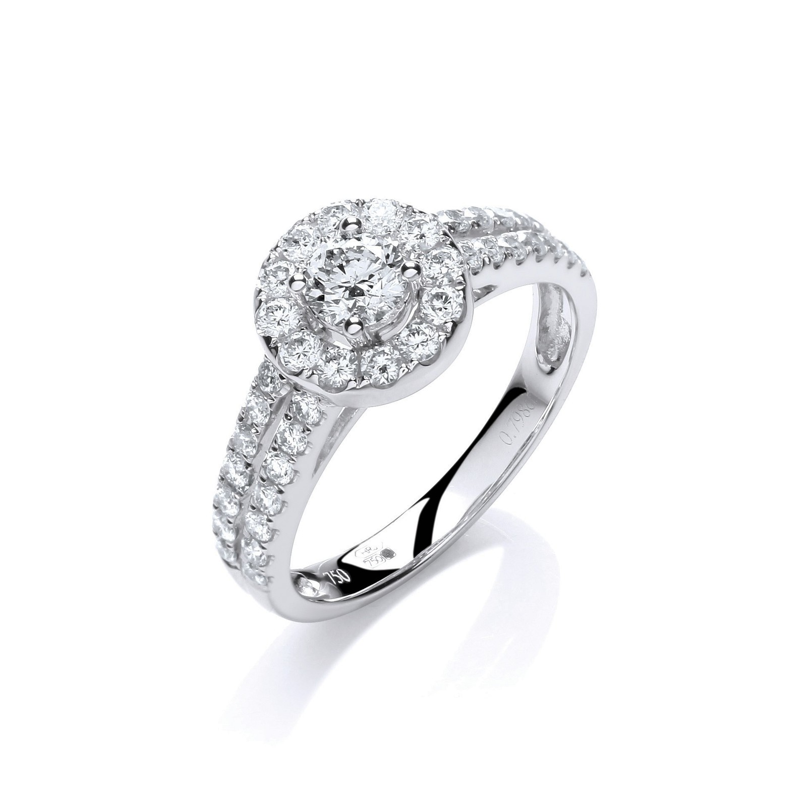 18ct White Gold 0.75ct H-SI Diamond Fancy Ring