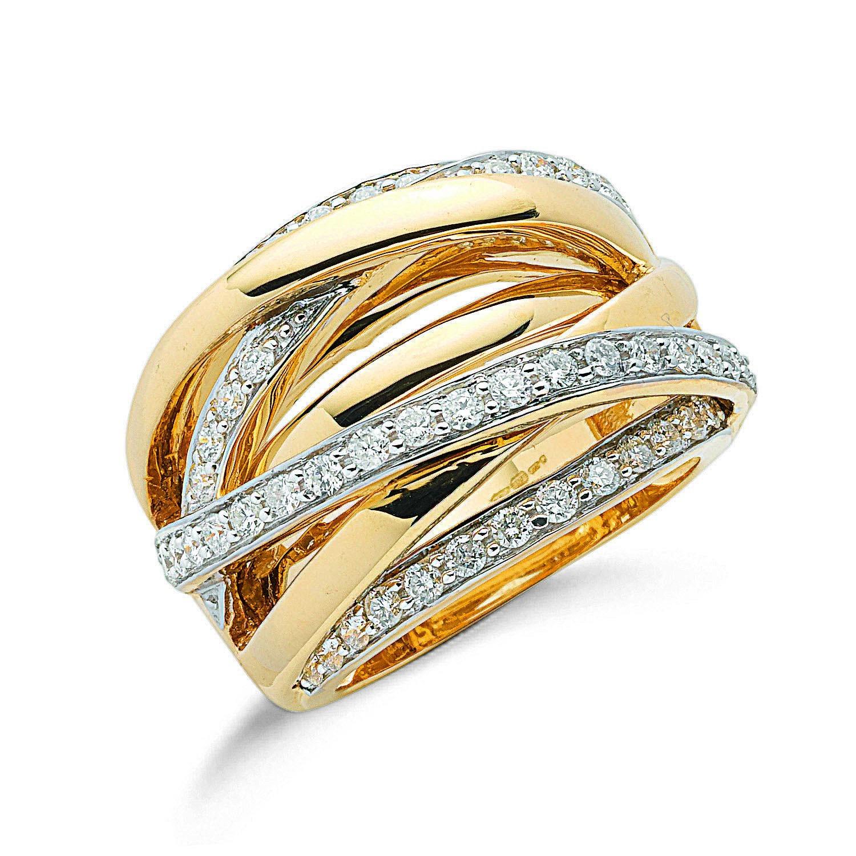 9ct Y/G 1.00ctw Diamond Crossover Ring
