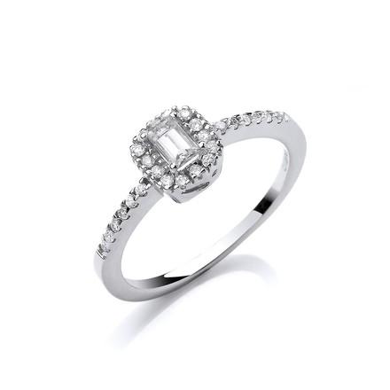 Selling: 18ct White Gold 0.50ct Emerald Cut Centre Diamond Ring