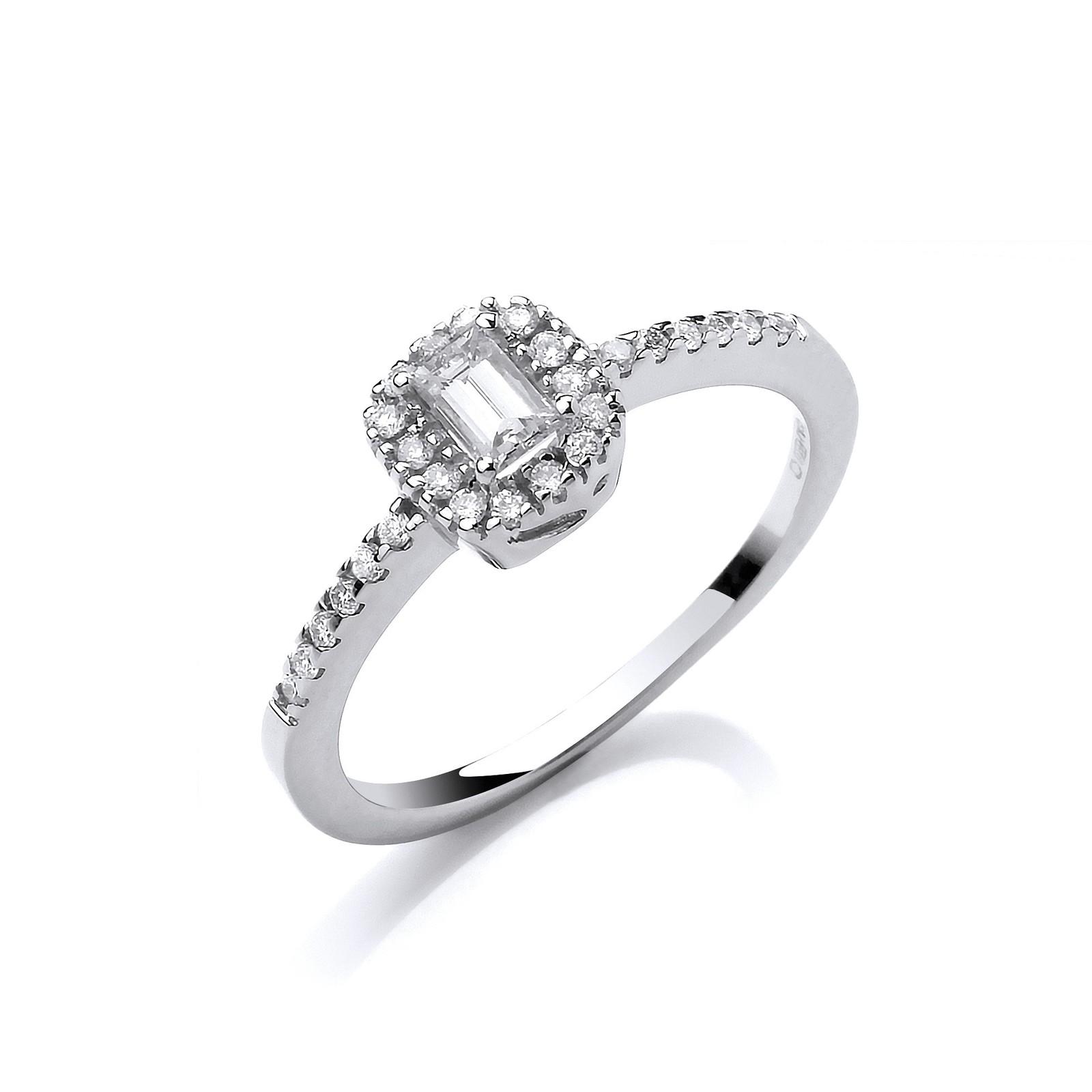 18ct White Gold 0.50ct Emerald Cut Centre Diamond Ring