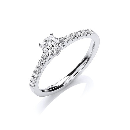 Selling: 18ct White Gold 0.45ctw Certificated Solitaire Ring