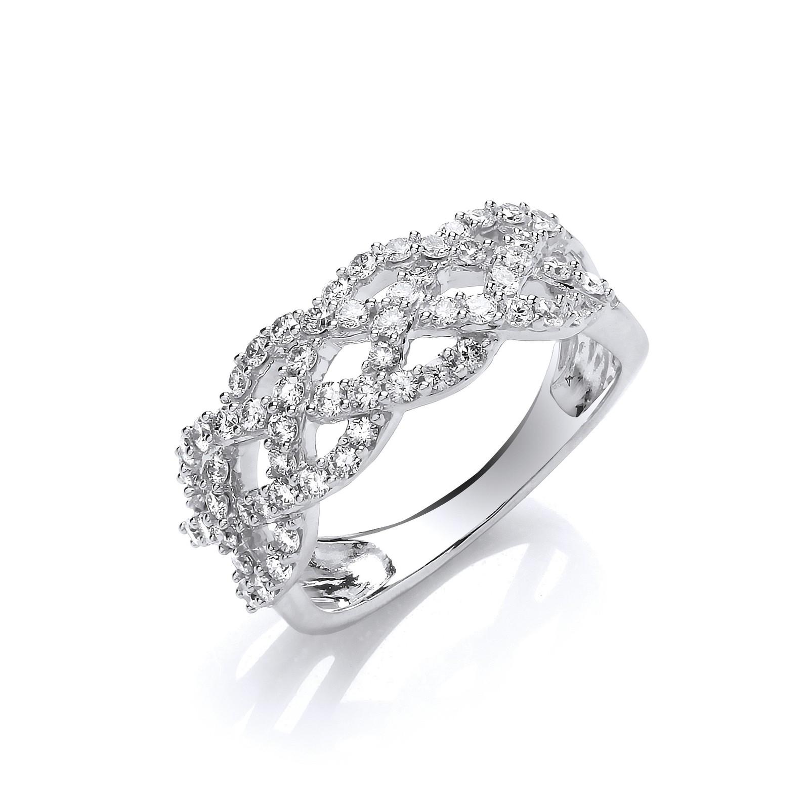 18ct WG 0.75ct Weaved Diamond Dress Ring
