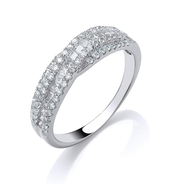 18ct White Gold 0.70ct Princess Cut Centre Diamond Crossover Ring