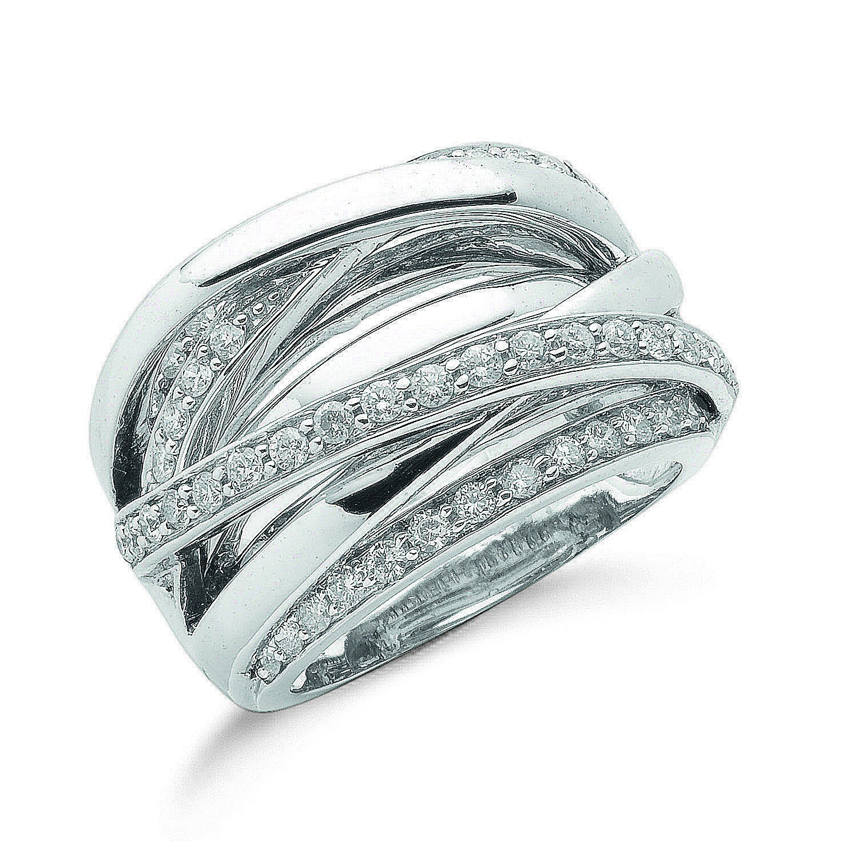 9ct W/G 1.00ct Diamond Crossover Ring