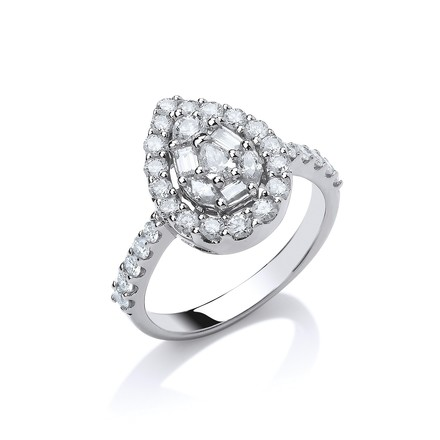 Selling: 18ct W/G 1.00ct Pear Shaped Diamond Ring