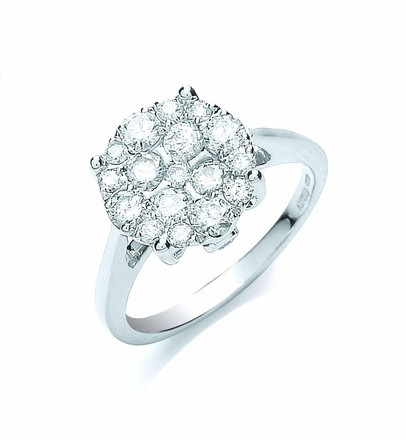 Selling: 18ct White Gold 1.00ct Cluster Diamond Ring