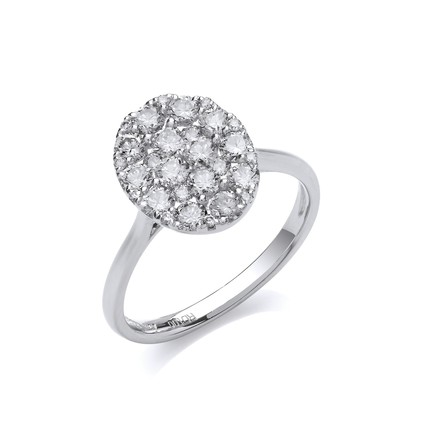 Selling: 18ct White Gold 1.00ct Oval Dress Ring