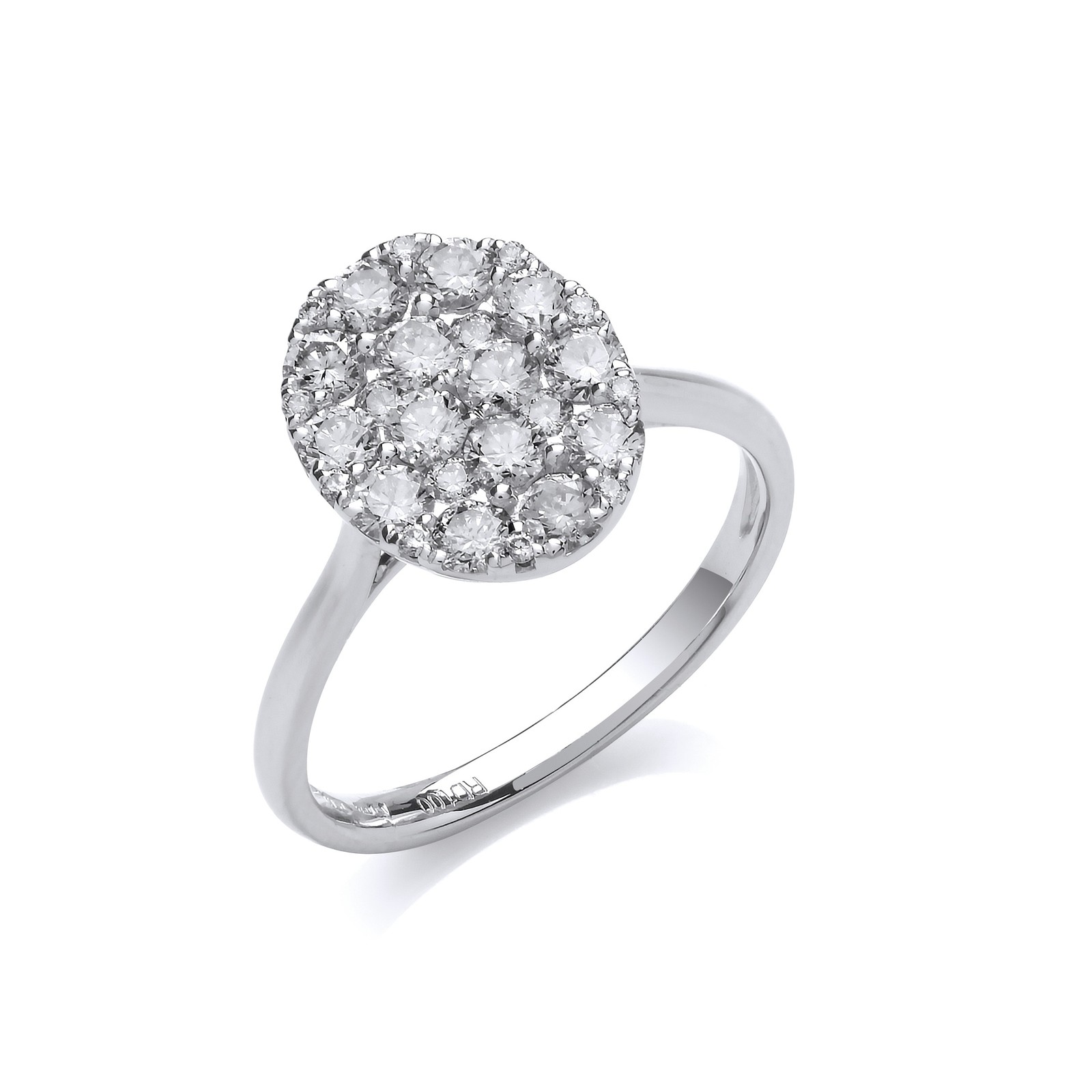 18ct White Gold 1.00ct Oval Dress Ring