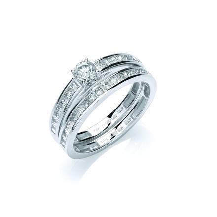 Selling: 18ct White Gold  0.75ct Bridal Set Rings