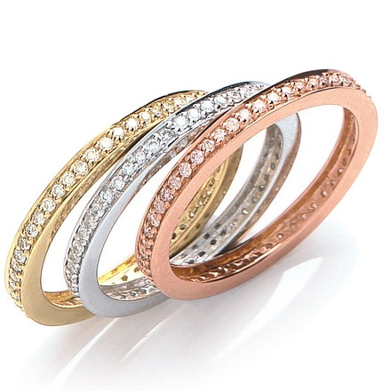 Selling: 18ct 3 Colour Set Of 3 Diamond Rings
