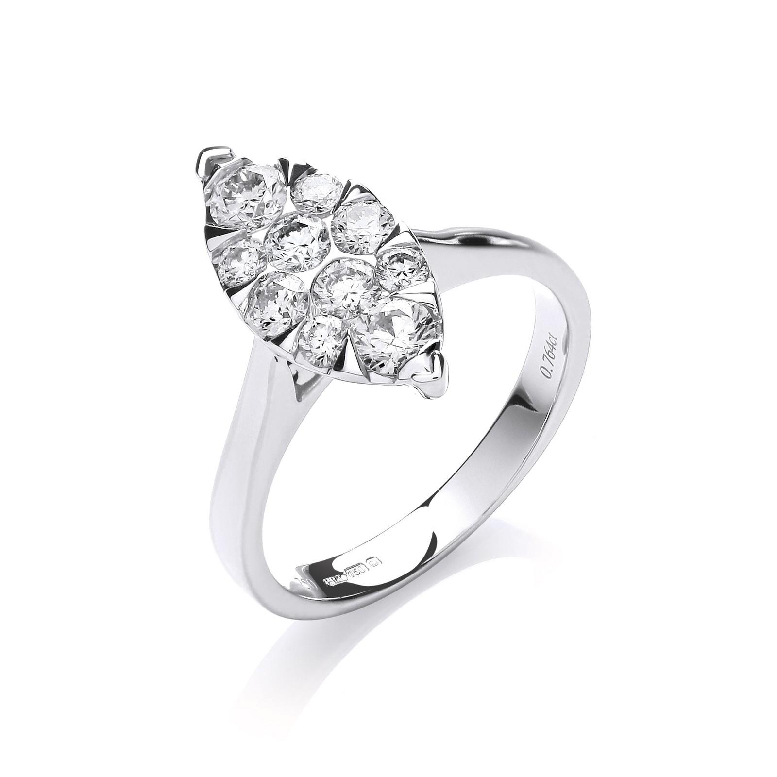18ct White Gold 0.75ct Diamond Dress Ring