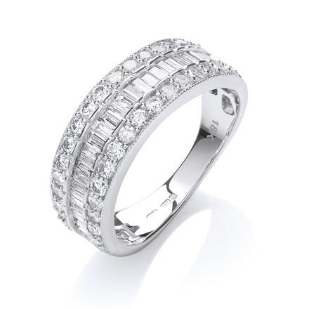Selling: 18ct White Gold  D.1.00ctw Diamond Half Eternity Ring