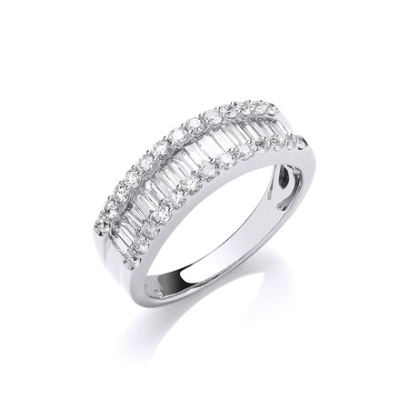 Selling: 18ct White Gold 1.00ct Baguette & Brilliant Cut Diamond ET Ring